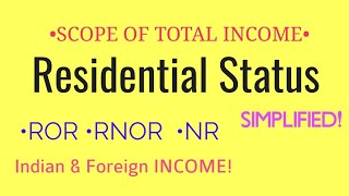 Residential Status(SCOPE OF TOTAL INCOME)•°•Simple tricks•°•--ROR, RNOR & NR[EVERYTHING]