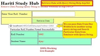 Retrieve Searched Data By Passing ID with Query String Asp.Net C# | Hindi | Free Online Classes