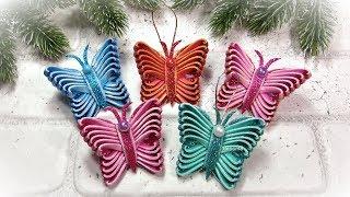 НОВОГОДНИЕ ИГРУШКИ своими руками 🎄 Бабочки 🎄 Diy Christmas Ornaments  Butterflies