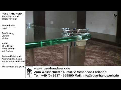 Beistelltisch fahrbar Nova Metall Chrom Nickel mit Glas und auf Rollen