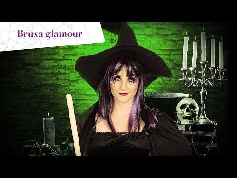 Maquilhagem de bruxa preto/roxo para o Halloween