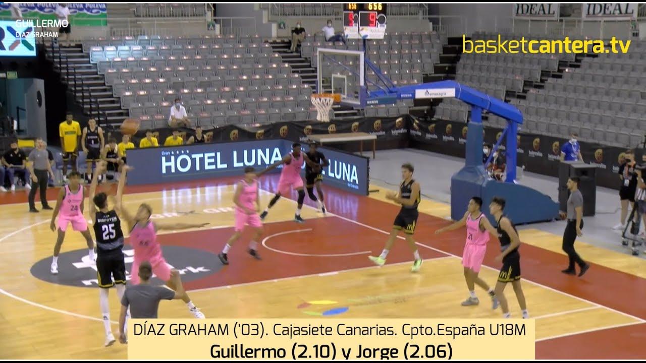 DÍAZ GRAHAM ('03) Guillermo (2.10) y Jorge (2.06). Cajasiete. Cpto. España U18M-21 #BasketCantera.TV