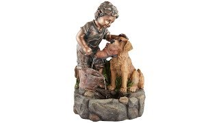 "Northport 24 3/4""H Boy Plays with Dog Outdoor Fountain"