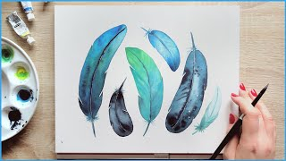 Simple Watercolor Painting Ideas For Beginners | How To Paint Feathers With Watercolors Wet In Wet