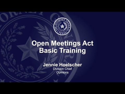 Open Meetings Act Training Video - YouTube