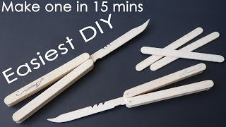 EASIEST way to make popsicle stick butterfly knife - DIY 2018