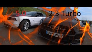 Ford Mustang 2.3 turbo vs Mustang GT 5 liters. And also Vaz 2108 vs Lexus IS F