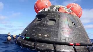 ВМС США поднимает космическую капсулу NASA Orion EFT 1