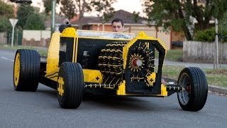A man made a full functional car made out of Lego bricks