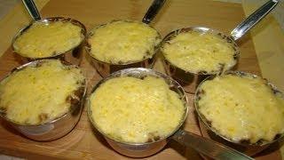 Смотреть онлайн Самый простой рецепт жульена из грибов и грудки