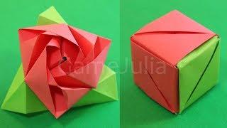 Оригами Роза Куб из бумаги