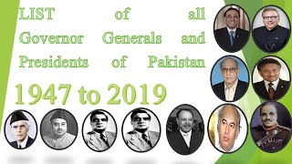 List of Governor General /Presidents of Pakistan 1947 to 2019 I Pakistan GK