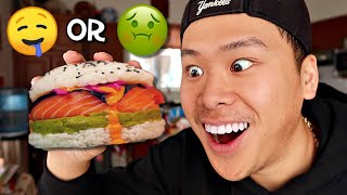 DIY Sushi Burger: Is it worth making and eating?! (WEIRD FOOD SWAP)