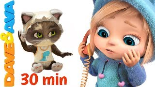 😸 Five Little Kittens Jumping on the Bed | Nursery Rhymes and Counting Songs form Dave and Ava 😸