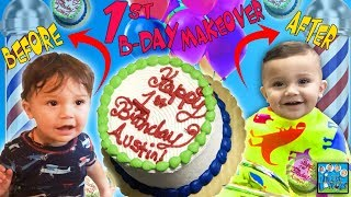 BABY FIRST BIRTHDAY HAIR MAKEOVER & CAKE CRUSHER! DINGLE HOPPERZ VLOG