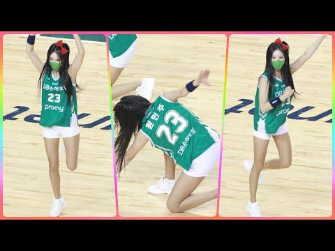 [4K] 치어리더 원민주 직캠 (cheerleader) - 작전타임 - 질풍가도 @남자농구(원주DB)/210…