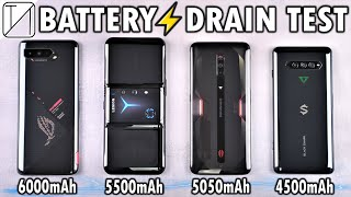 Asus ROG Phone 5 vs Legion Phone 2 Pro vs RedMagic 6 vs Black Shark 4 Pro Battery Life DRAIN TEST!