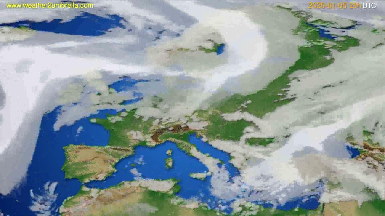 Cloud forecast Europe // modelrun: 12h UTC 2020-01-04