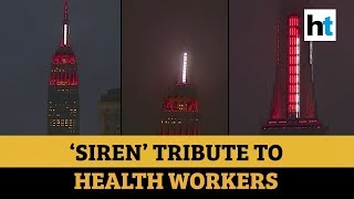 Watch: Empire State Building lit up like siren to honour medical professionals