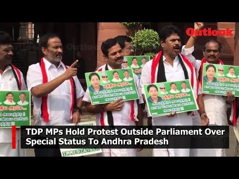 TDP MPs Hold Protest Outside Parliament Over Special Status To Andhra Pradesh