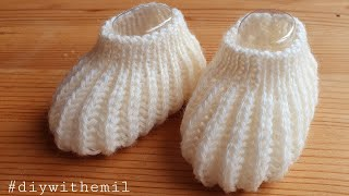 How to knit very easy baby booties tutorial
