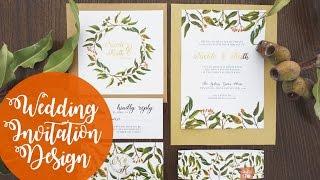 Wedding Invitation Design  Foliage   Watercolour   Photoshop
