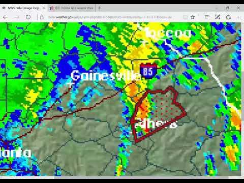Athens,GA NOAA Weather radio severe weather coverage (with radar loop)