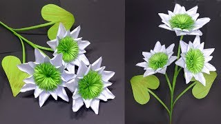 How to Make Very Beautiful White Flower with Paper | Stick Flower | Jarine's Crafty Creation
