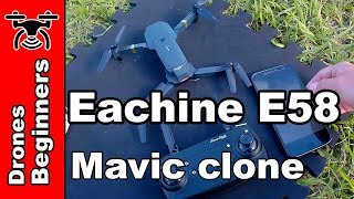Eachine E58 720P Folding FPV Camera Drone Review Test in English