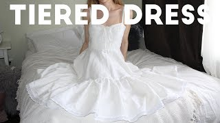WHITE LINEN DRESS W/TIERS // SEWING TUTORIAL
