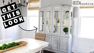 China Hutch Makeover | @Annie Sloan Chalk Paint Wash Tutorial