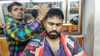 Asmr indian head massage with neck crack by villager barber.