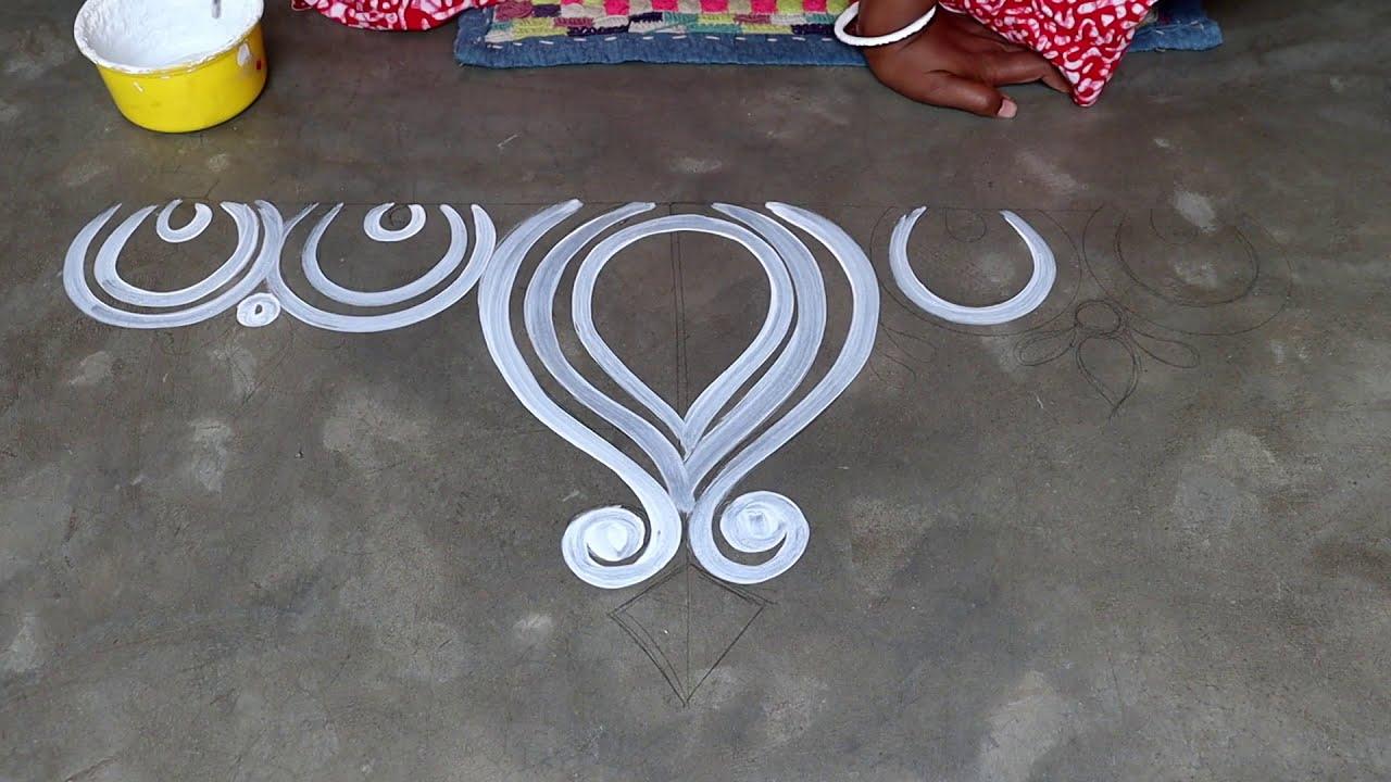 easy and simple alpana design for ugadi fesitval by shyamali