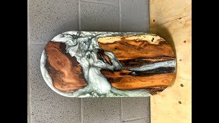 Pill shaped Table runner Epoxy resin and wood