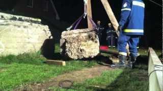 preview picture of video 'THW: Mastkran - Greifzug - 3,8t Gewicht heben'