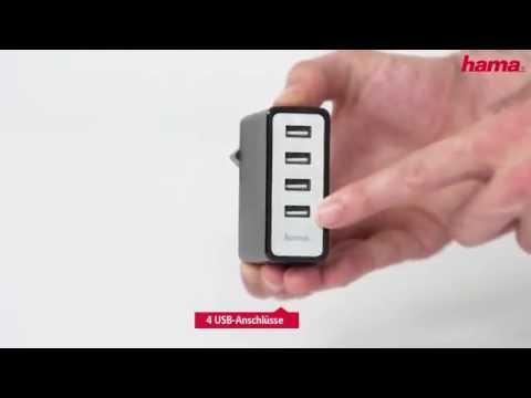 Hama USB Ladegeraet Auto Detect mit vier Buchsen