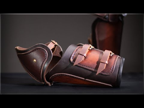 Leather-armor makes does a voiceover tutorial on a leather-carved arm guard