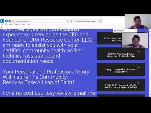 Certified Community Health Worker Technical Assistance Training ...
