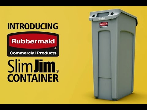 Product video for De Rubbermaid Commercial Slim Jim containers met luchtsleuven bieden compromisloze prestaties in nauwe ruimtes.