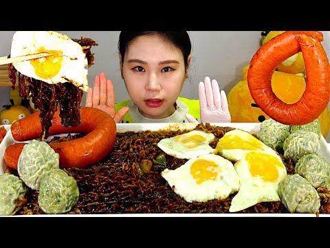 SUB 짜파게티범벅 계란후라이 킬바사소세지 만두 먹방  JJAPAGHETTI Fried Eggs Kielbasa Sausage Dumpling Mukbang Eating Show