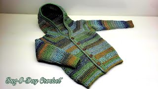 How To Crochet A Toddler Sweater | Boys - Girls Hooded Cardigan | BAGODAY CROCHET TUTORIAL #516