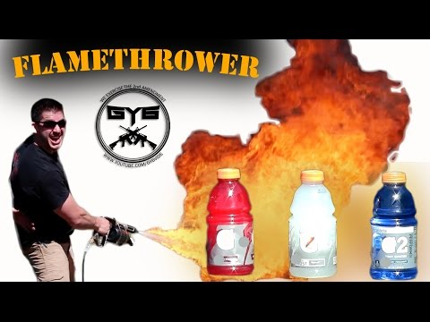 Torching Gatorade With A Flamethrower Creates Colourful Mini Fountains
