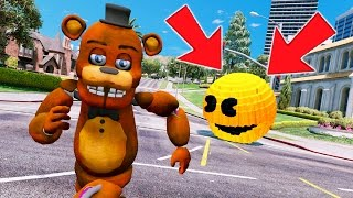 WITHERED FREDDY vs GIANT EVIL PACMAN! (GTA 5 Mods For Kids FNAF Funny Moments) RedHatter