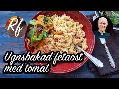 Pasta som blandas med ugnsbakad fetaost och tomater samt örter. Fetaosten och tomaterna mjuknar i ugnen och det hela blir som en god röra blandad med pastan. Detta är min version av pastarätten som även är känd som tiktokpasta.>