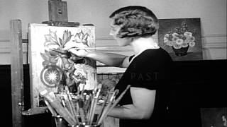 Tennis Queen Helen Wills Tries Her Hand At Painting In San Francisco. HD Stock Footage