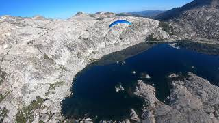 Paramotor flight over the Sierra Nevada mountains and Lake Tahoe