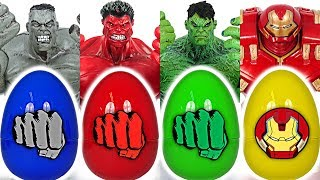 Dinosaur! When Toy Story touch Marvel Avengers egg, it turn into Grey, Red Hulk Buster! #DuDuPopTOY