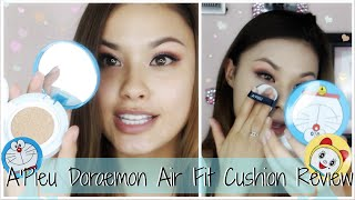 First Impressions ♥ A'Pieu Doraemon Air Fit Cushion Foundation and Blusher Review 어퓨 도라에몽 쿠션 리뷰