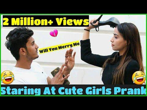 Staring At Cute Girls || Prank with Love || Sam Khan