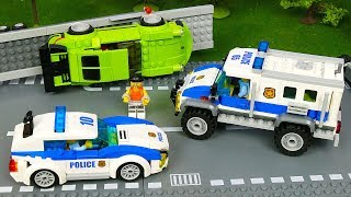 LEGO Police сhase. Play with Toys: Fire Truck, Bulldozer, Concrete Mixer, Dump Truck, Mobile Crane